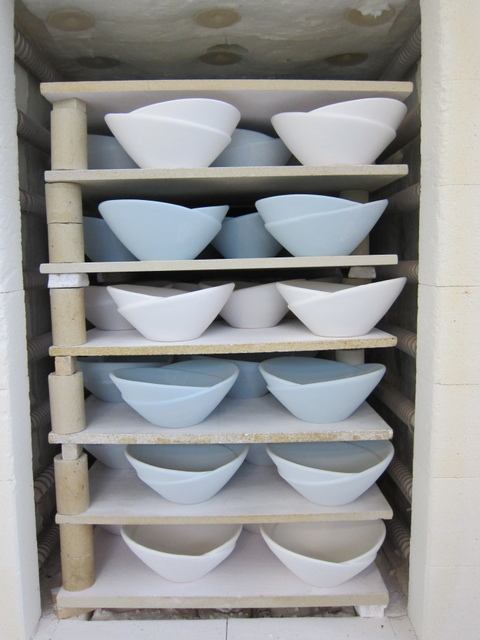 Bowls glazed for firing