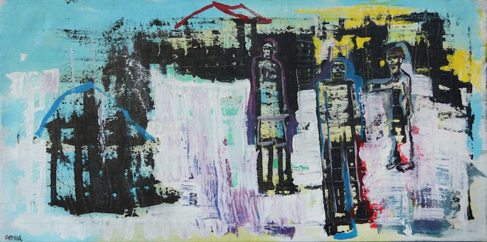 "Shanty Town Luck - 27"" x 54.5"" Acrylic on Canvas"