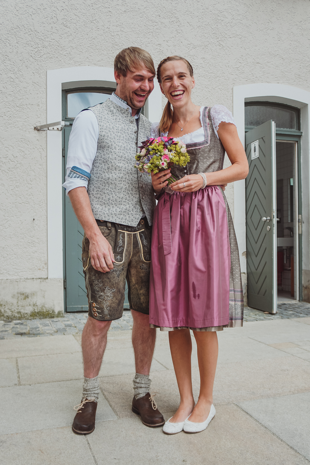 Newlyweds in traditional dress, Passau, Germany