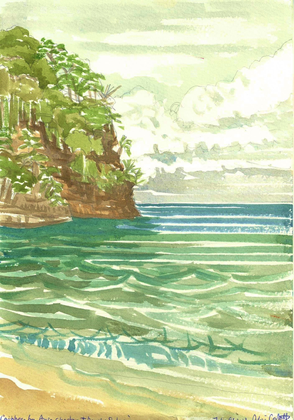 Poem book Anse Chastanet beach watercolor.jpg