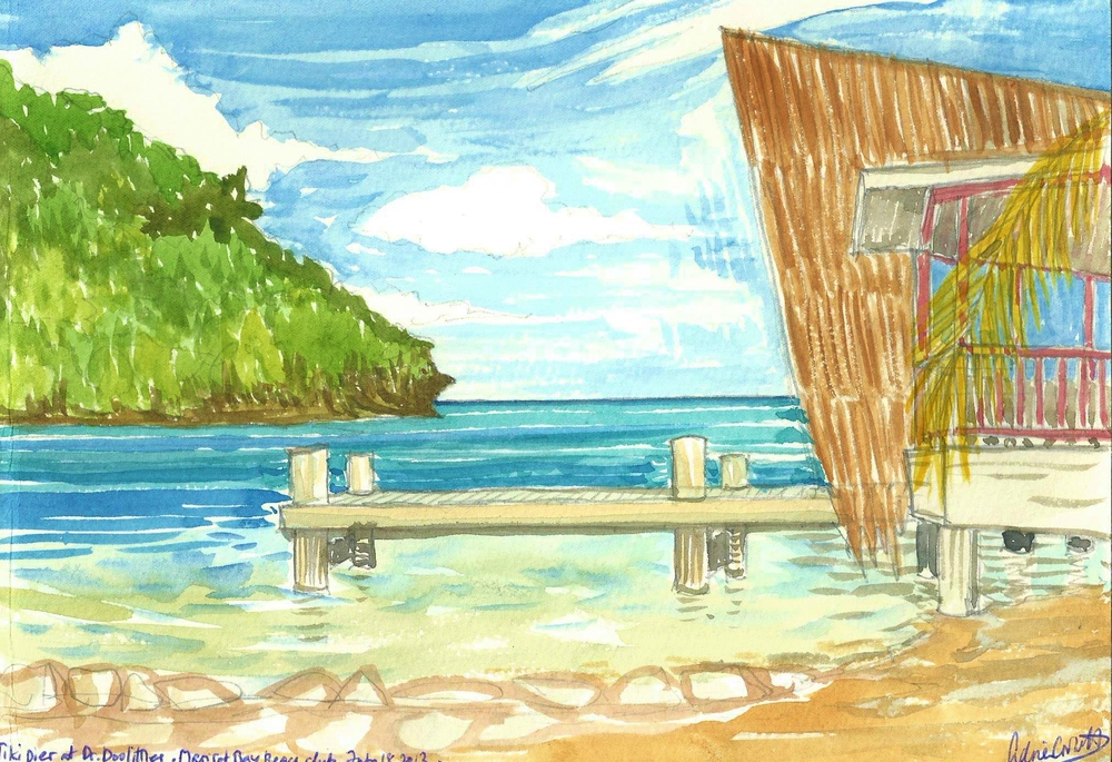 Poem book Tiki pier Marigot Bay watercolor.jpg