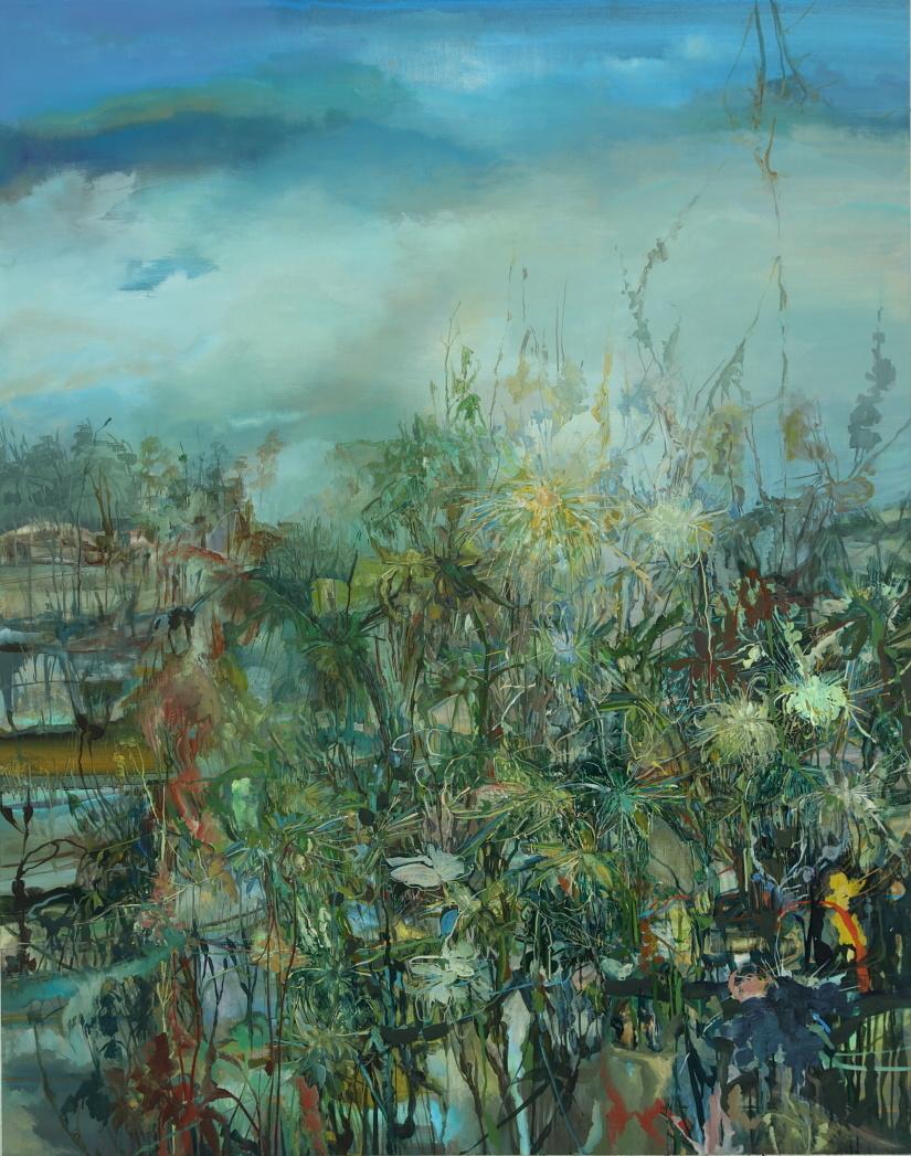 Close Rain , 2012  Acrylic on canvas  84 x 66 inches
