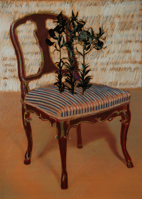 Chair with Flowers  Pencil on archival pigment print 14H x 10W inches