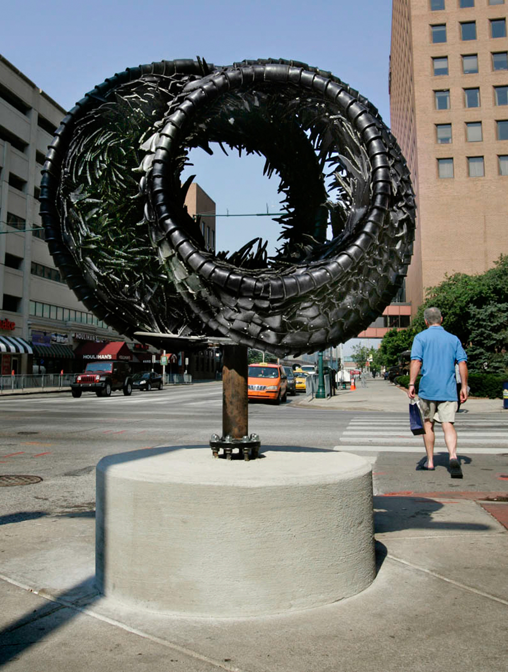 Booker, Tailgating, 2008, rubber tires and stainless steel,48x48x60in.jpg