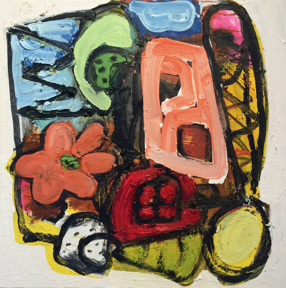 Huggly Wuggly   ,  2015  Oil on canvas  24H x 24W inches