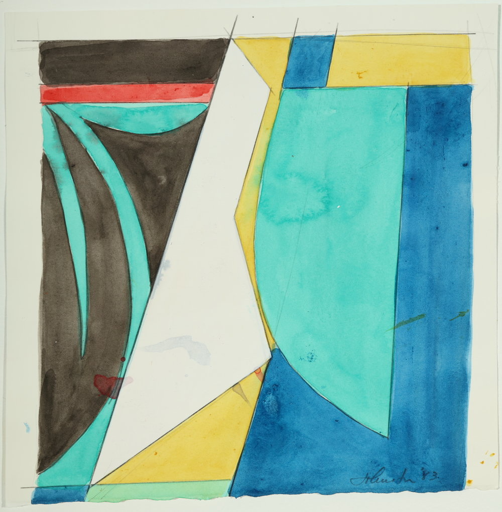 Untitled, Color Study , 1983         Acrylic and pencil on paper 9.5H x 9W inches unframed $2,000 unframed $2,250 framed