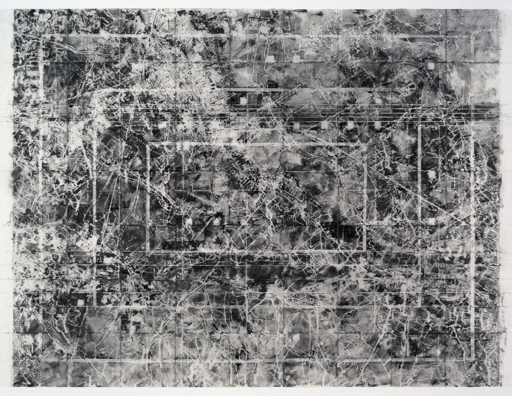 Barriers,  2015 Graphite, mixed media on Dura-lar 28H x 36W inches unframed 33.5H x 41.5W inches framed