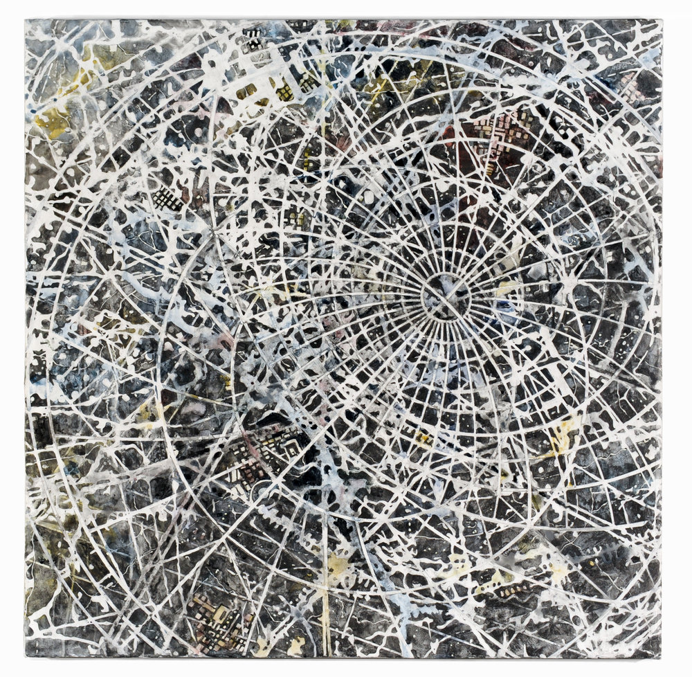 Interference,  2016 Mixed media on linen 36H x 36W inches