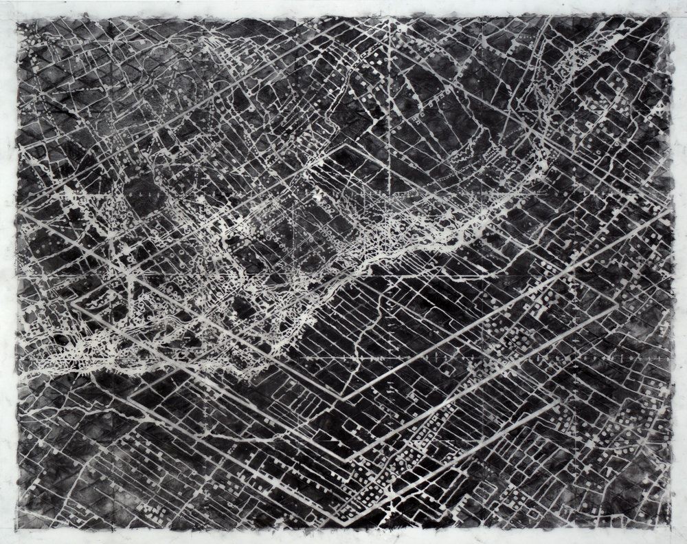 Open , 2015 Graphite, mixed media on Dura-lar 30H x 38W inches unframed 5.5H x 43.5W inches framed