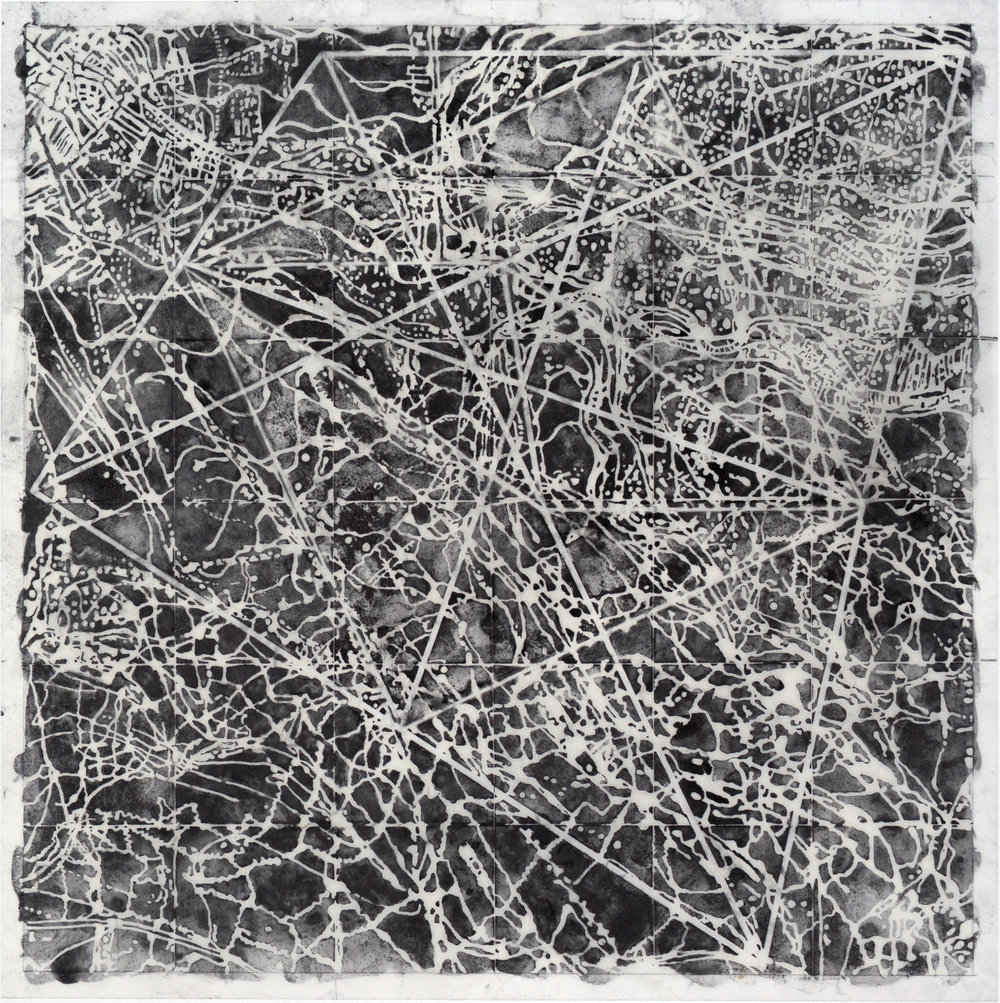 Taken , 2015 Graphite, mixed media on Dura-Lar 20H x 20W inches unframed 5.5H x 25.5 inches framed
