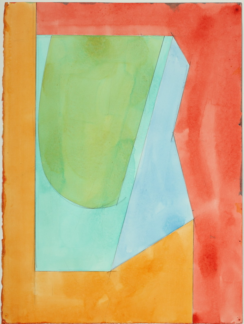 "Untitled, Color Study   1983  Acrylic and pencil on paper  15"" x 11.25"""