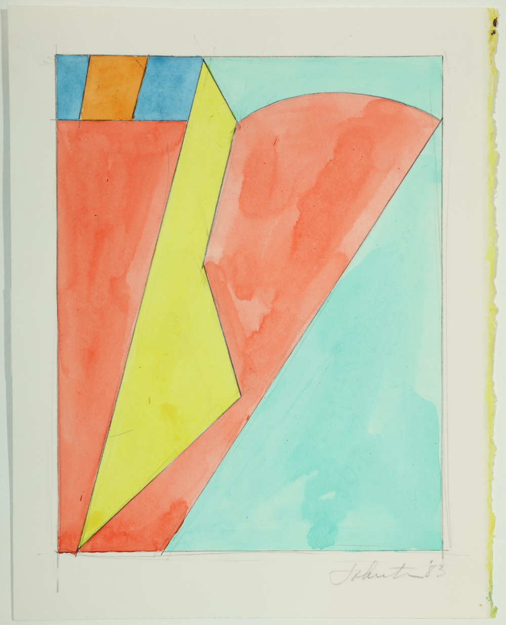 "Untitled, Color Study   1983  Acrylic and pencil on paper  10.75"" x 8.50"""