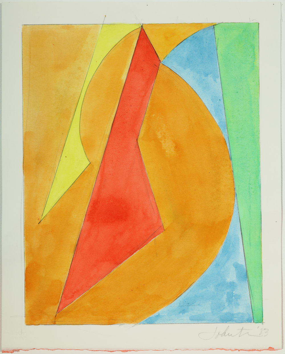 "Untitled, Color Study   1983  Acrylic and pencil on paper  12.25"" x 9.87"""
