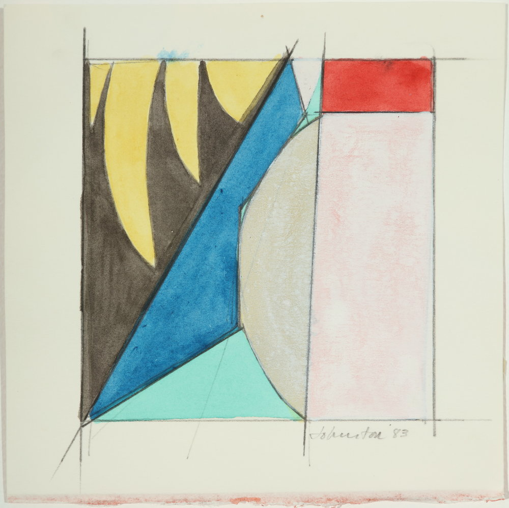 "Untitled, Color Study   1983  Acrylic and pencil on paper  5"" x 5.50"""