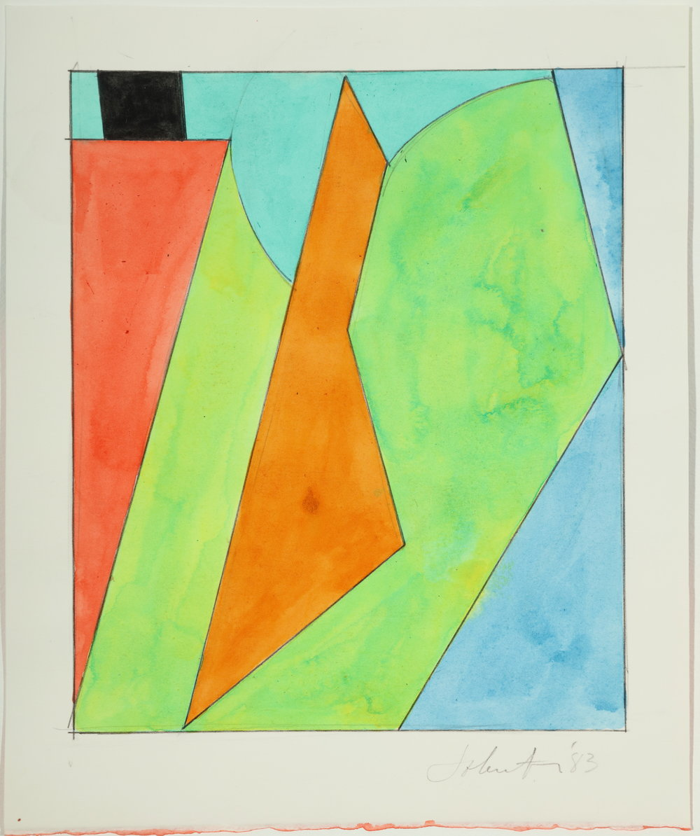 Untitled, Color Study,  1983 Acrylic and pencil on paper 10.75H x 8.875W inches unframed