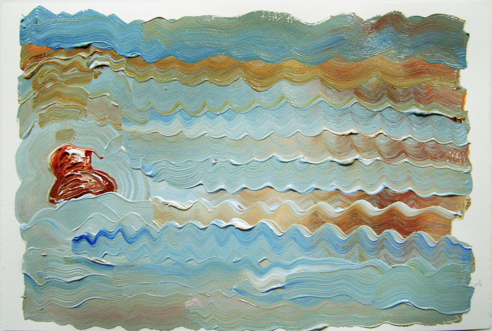 Bobbin on the Crimped Sea , 2013 Acrylic on paper 7.5H x 11W inches