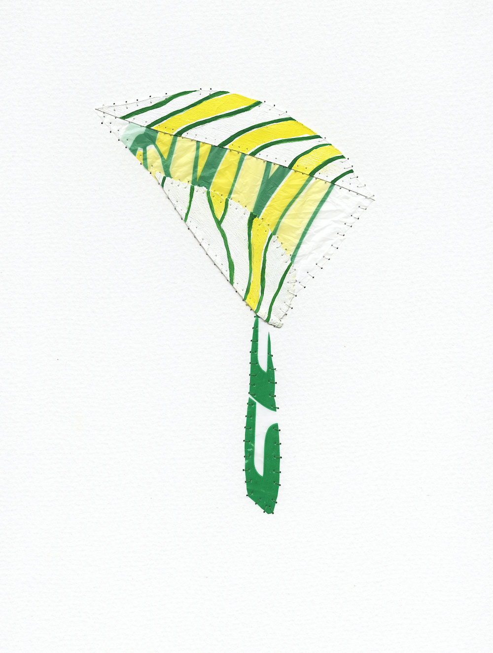 NV#60  , 2011 Leaf, gesso, plastic bag, Flashe paint, thread on paper 12H x 9W inches