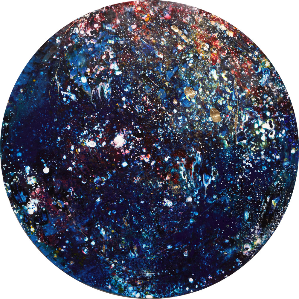 Callisto (Blue) , 2018 Encaustic and mixed media on wood panel 28 inches in diameter x 3D inches