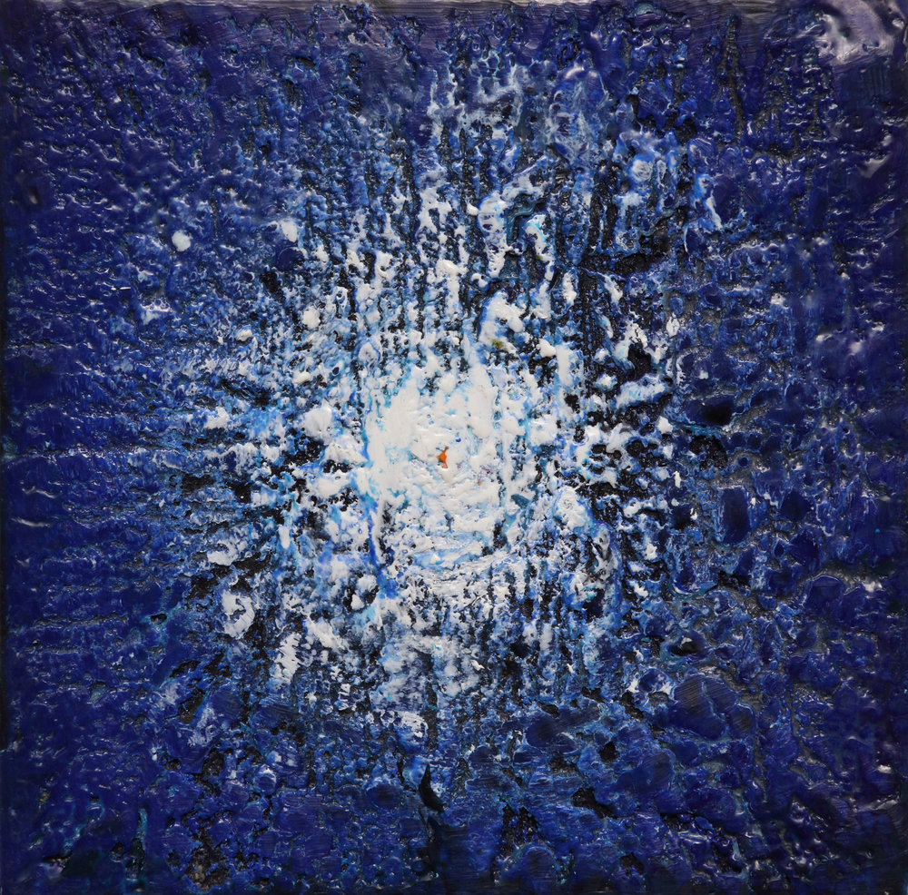 Young Star Cluster  , 2018 Encaustic on wood panel 5H x 5W x 1.5D inches