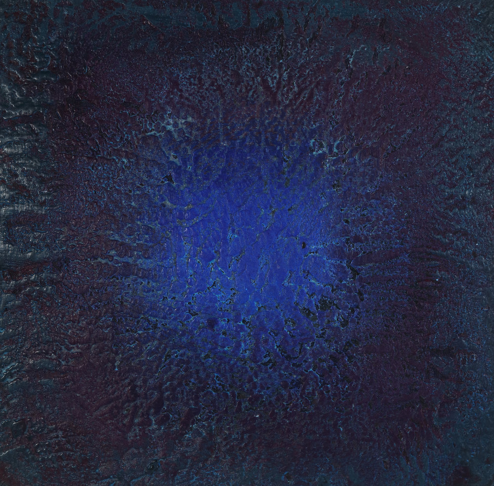 Blue Wobble , 2018 Encaustic and mixed media on wood panel 12H x 12W x 2D inches