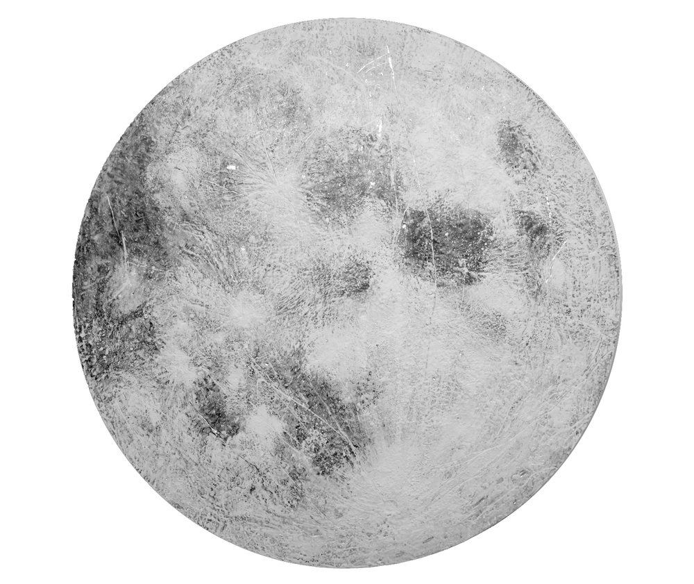 Moone  , 2017 Encaustic and mixed media on wood panel 72 inches in diameter x 4D inches