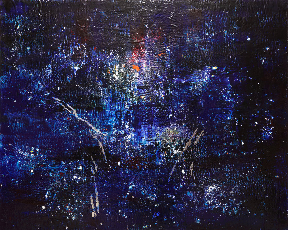 Dark Nebula , 2018 Encaustic and mixed media on wood panel 48H x 60W x 2D inches