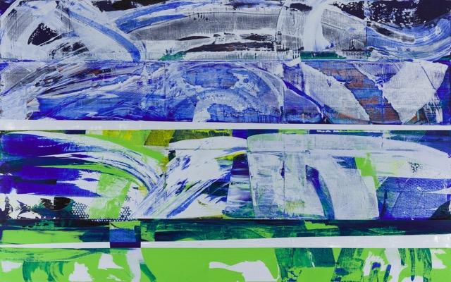 Blue Origins, 2018  Acrylic on canvas  50H x 80W inches