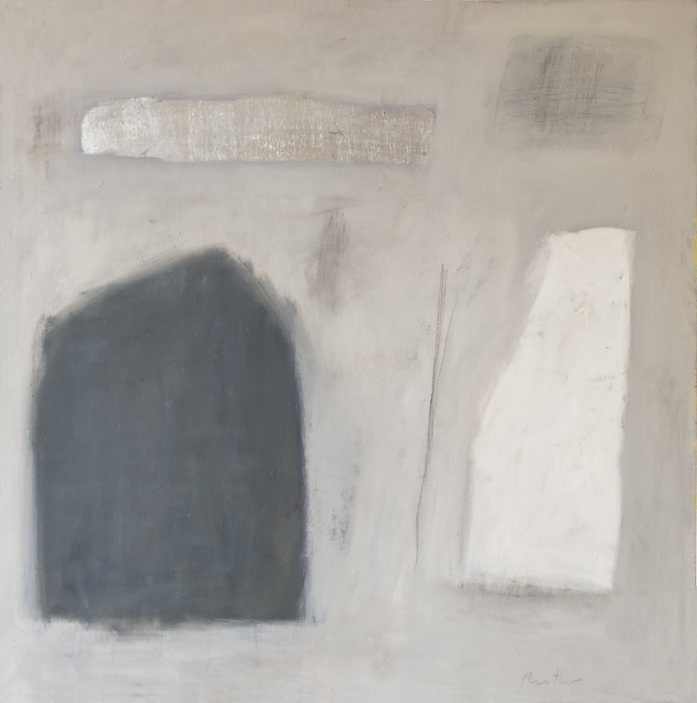 Abstract #1398,  2017 Oil, graphite, and silver leaf on linen 40H x 40W inches