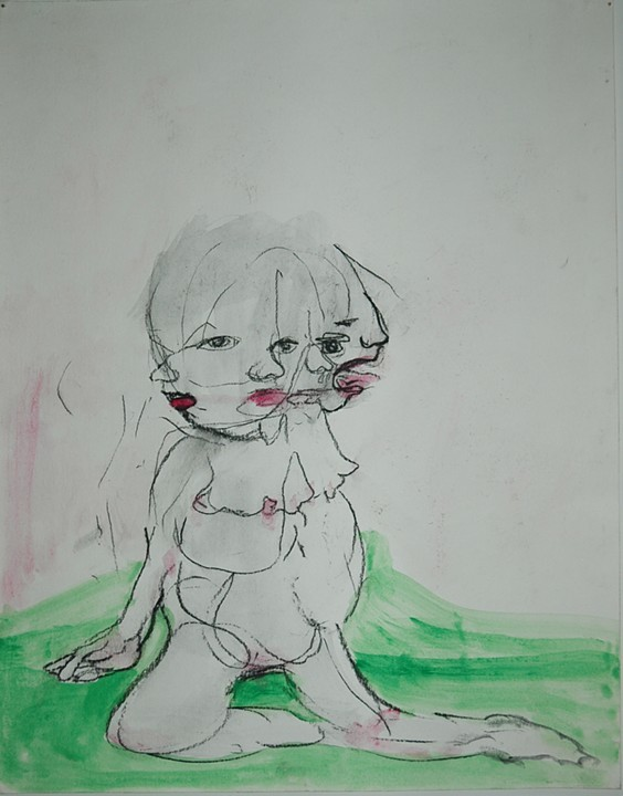 Empty girl , 2001 Watercolor and charcoal pencil on paper 16.5H x 14W inches