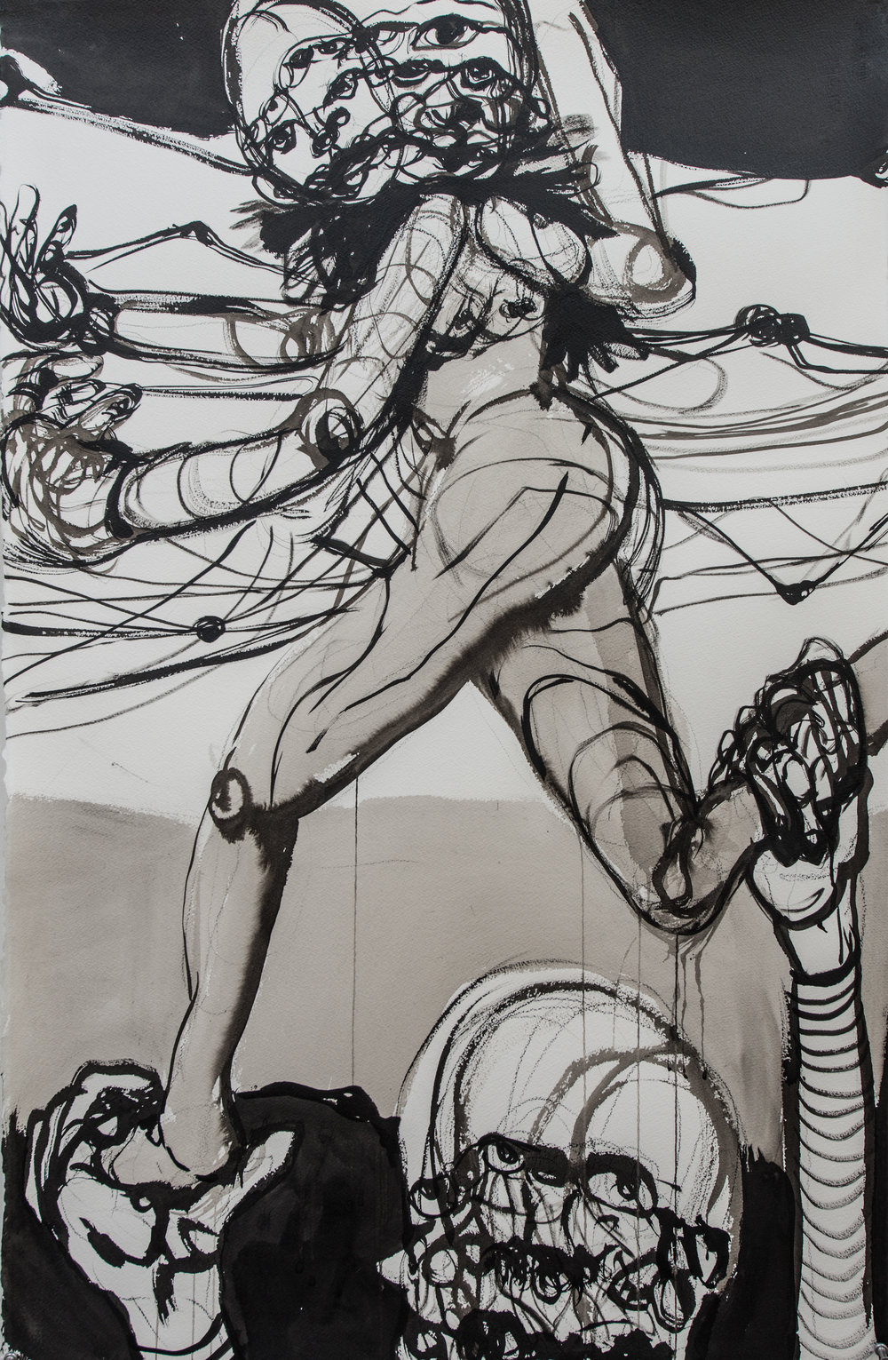 Gymnastics , 2018 Ink wash and graphite on paper 44.5H x 30.5W inches