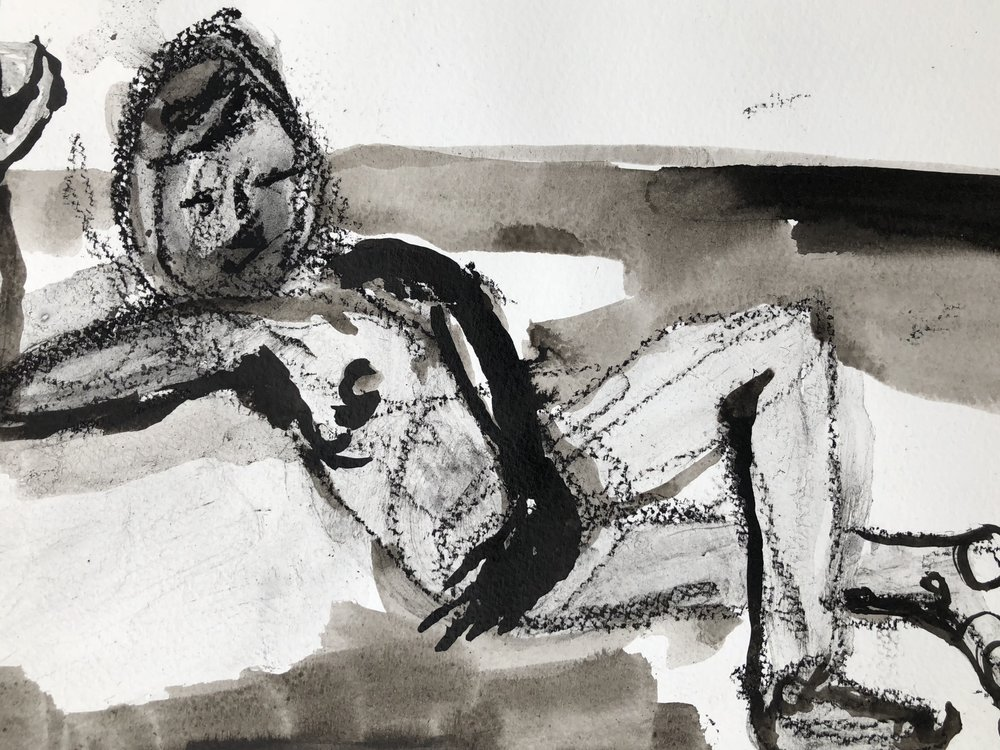 The sunbather , 2018 Ink wash and charcoal pencil on paper 11H x 14W inches
