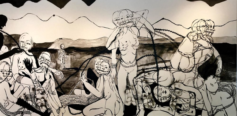 The bathers, bathing,  2018 Ink wash and spray paint on drywall 96H x 180W inches