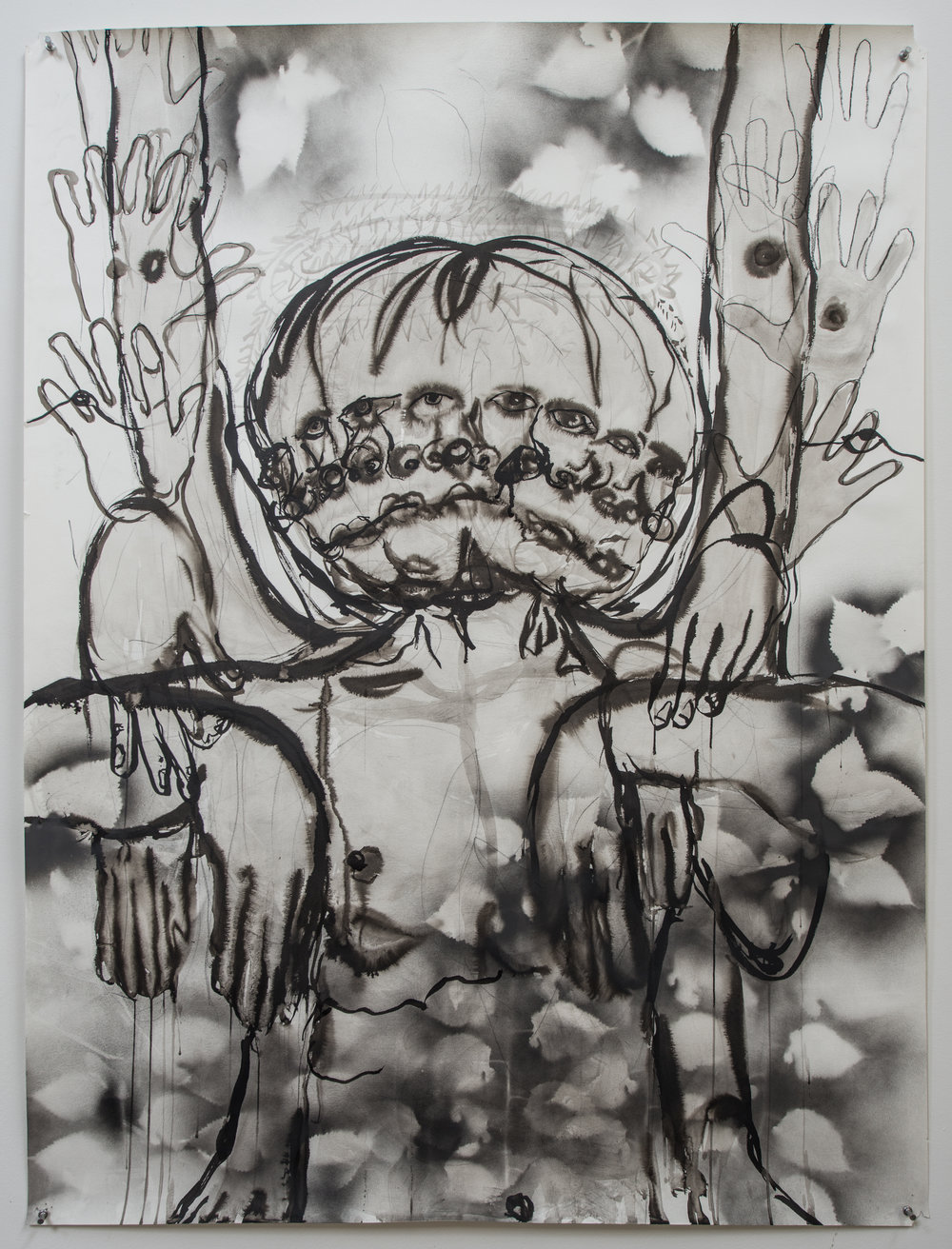 Unarmed , 2018 Ink wash and spray paint on paper 50.5H x 38W inches