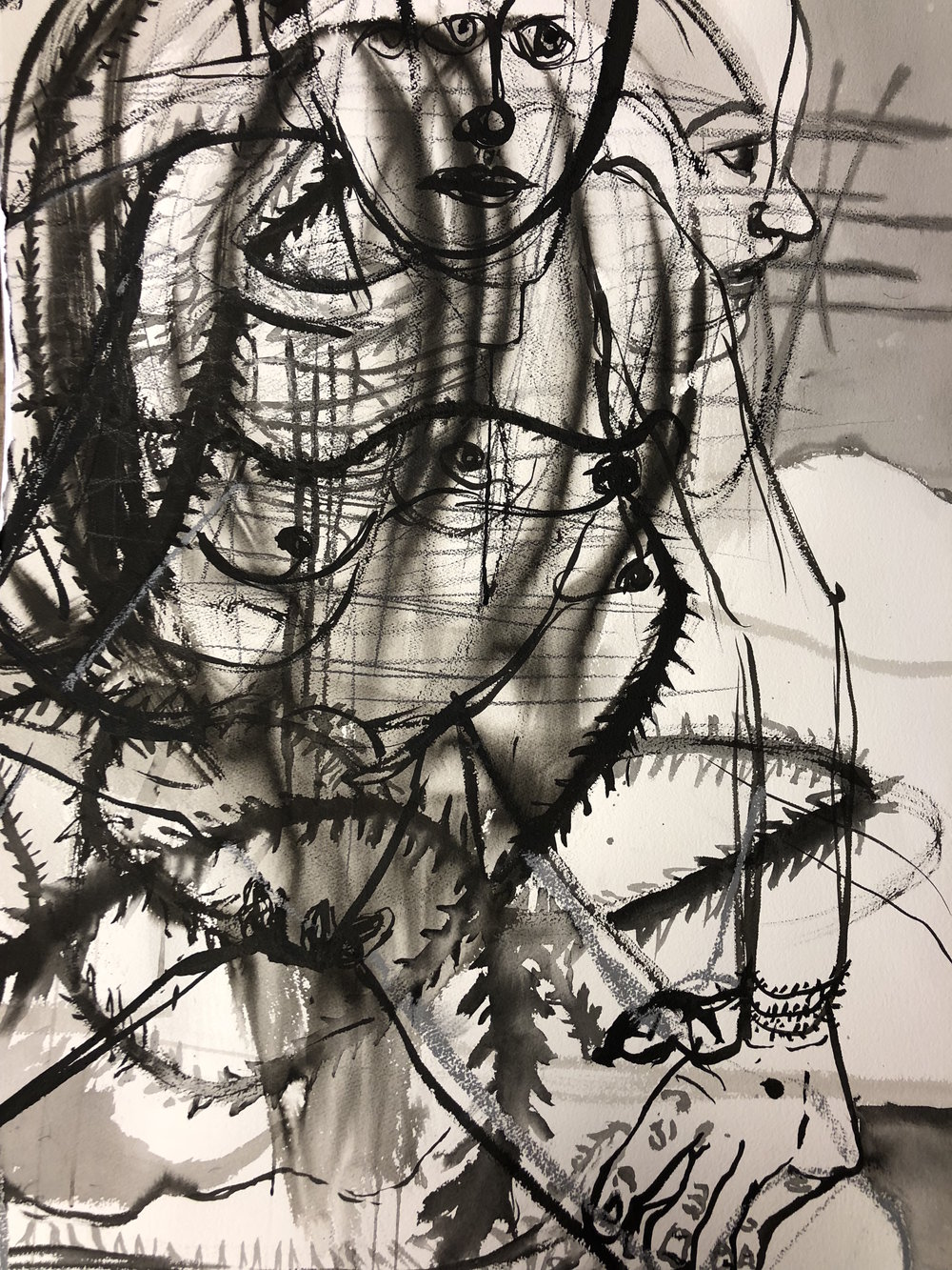 Your strange love , 2018 Ink wash and graphite on paper 44.5H x 30.5W inches