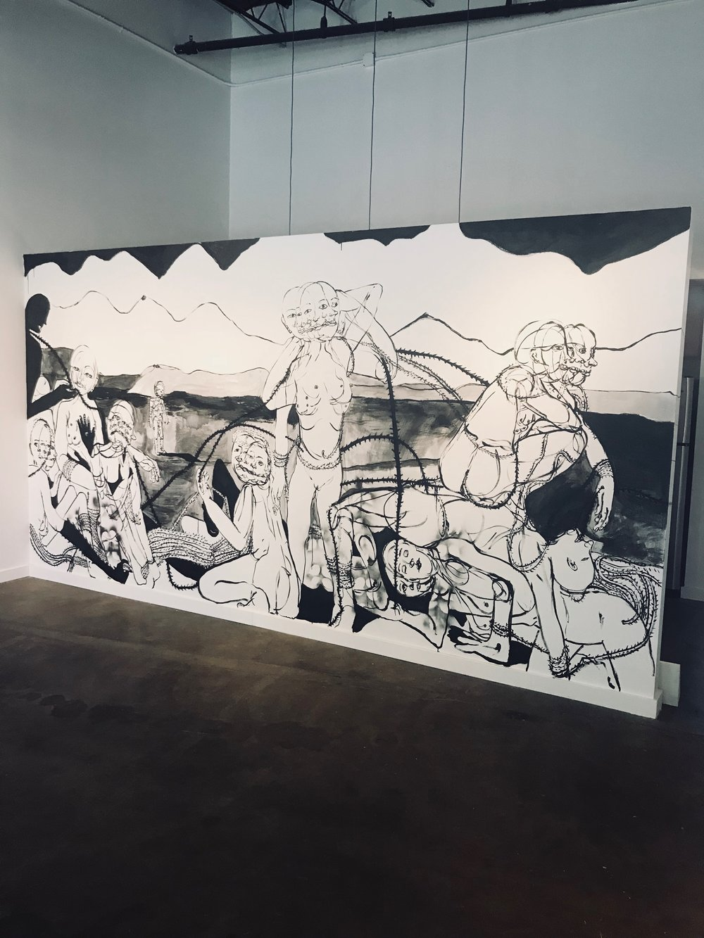 The bathers, bathing , 2018  Ink wash and spray paint on drywall   96H x 180W inches
