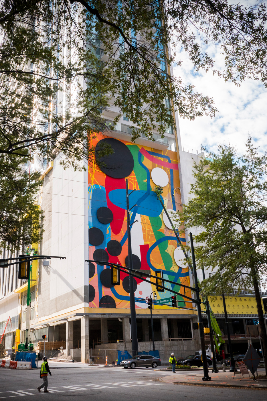 ICON Midtown Tower , 2017  Atlanta, Georgia  Acrylic and painted aluminum panels on wall  95 x 65 ft.