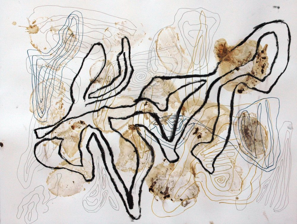 Wandering Number 2 , 2011 Fungi stains, mixed media 19H x 26W inches unframed