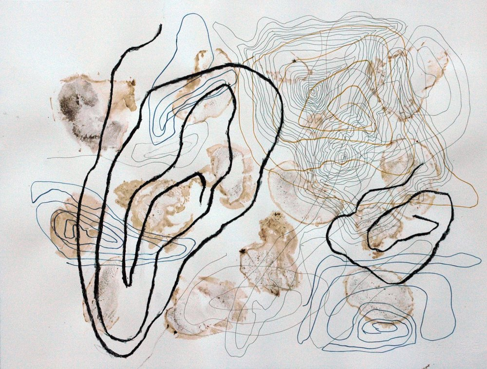 Wandering Number 3 , 2011 Fungi stains, mixed media 19H x 26W inches unframed