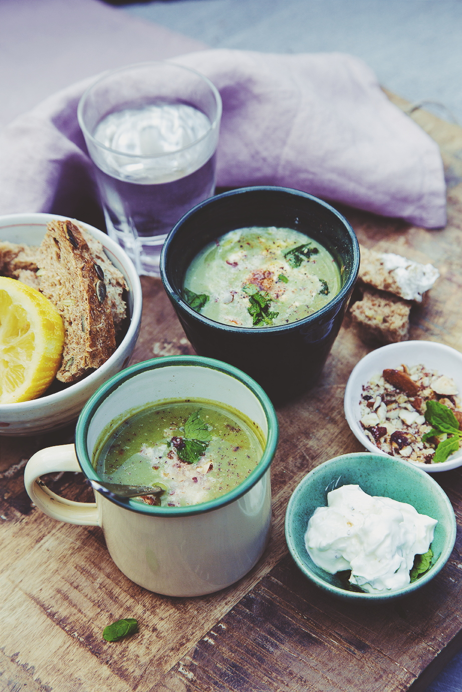 Cosy broccoli Soup with Feta Cheese Creme