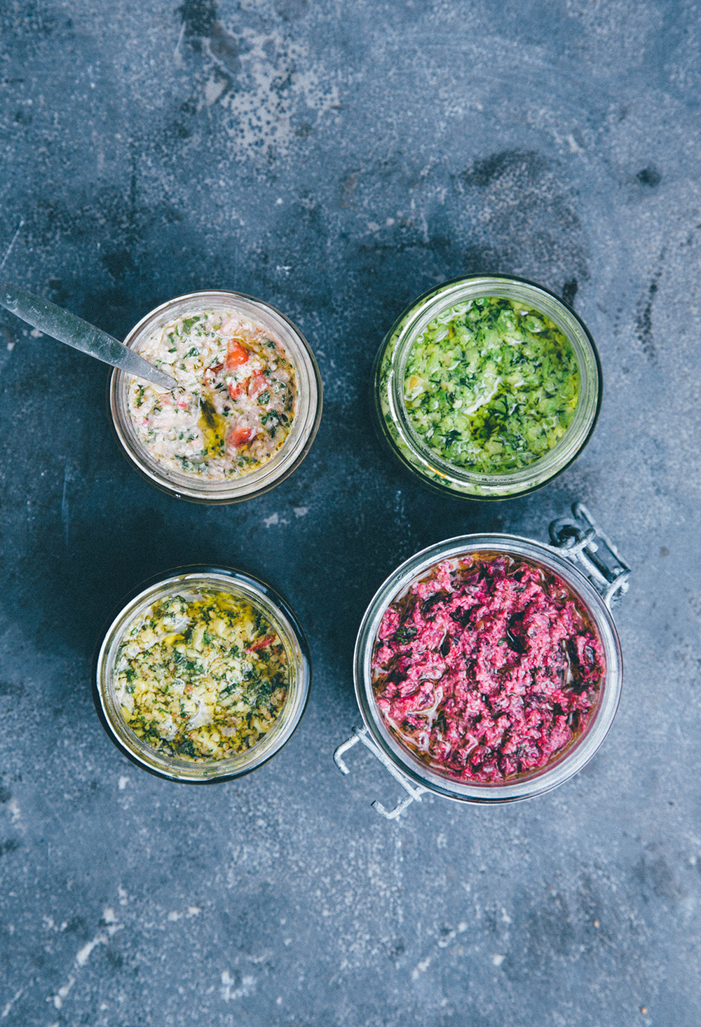 From the left: Sweetie, a strawberry & basil pesto. Nordic: a cdill &  green pea pesto. Asia: a cilantro, lime and peanut pesto. Bohemia: a roasted beet and sunflower pesto.