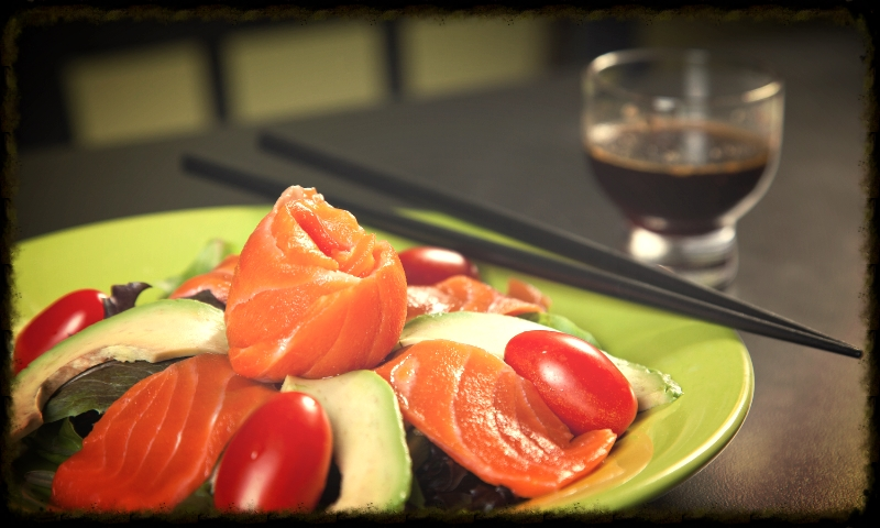 Salmon Sashimi Avocado Salad