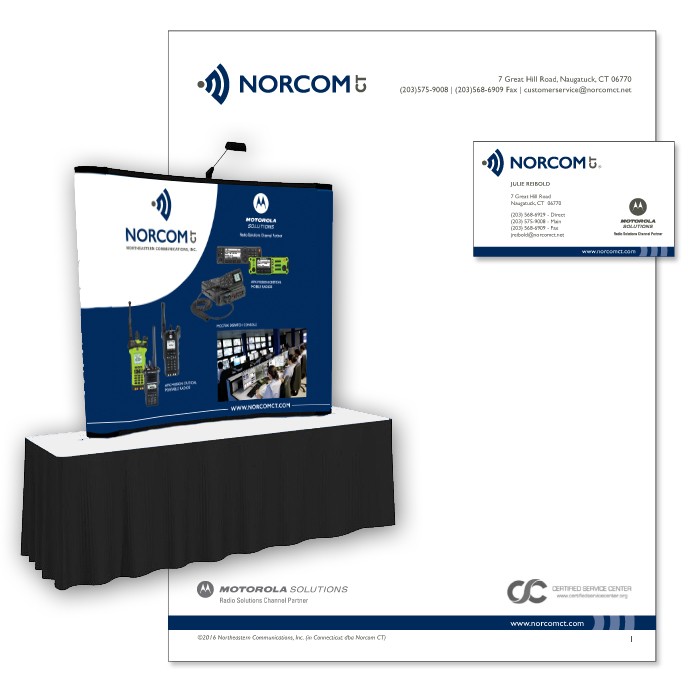 NORCOM CT letterhead, business card & tradeshow booth