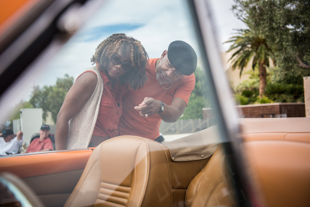 Denise Frelot and Frank Sweet check out the interior of a vintage car on display at the Beers, Gears & Bikinis Car Show at the M Resort on Saturday, June 10, 2017, in Las Vegas. The event featured over 40 cars in competition. Morgan Lieberman Las Vegas Review-Journal