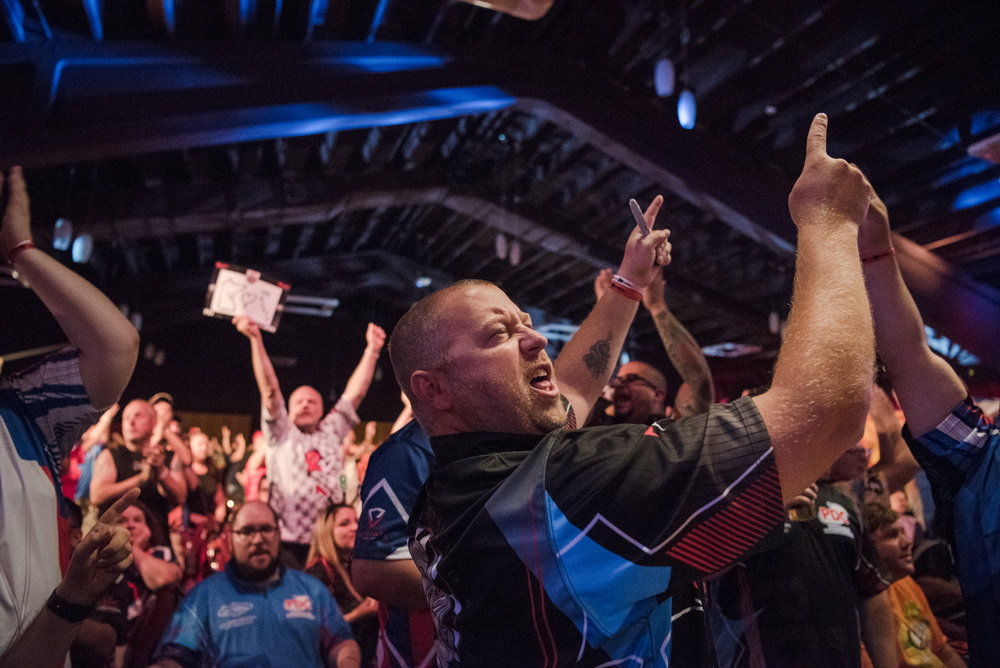 Minnesota resident Jon Ulness shows his support for the last few minutes of the match at the PDC's World Series of Darts Festival at Tropicana hotel-casino on Friday, July 14, 2017, in Las Vegas. Morgan Lieberman Las Vegas Review-Journal