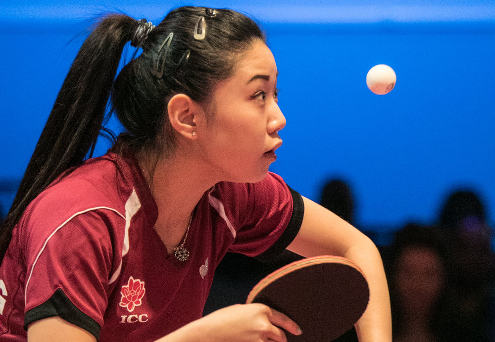 "Lily Zhang serves the ball during the USA Table Tennis 2017 Supermicro National Championship ""Final Table Celebration""at Silverton hotel-casino on Friday, July 7, 2017, in Las Vegas. Morgan Lieberman Las Vegas Review-Journal"