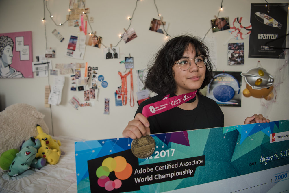 Kai Charvet in her bedroom with her championship medal and scholarship check on Friday, August 4, 2017, in Las Vegas. Morgan Lieberman Las Vegas Review-Journal