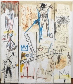 Jean-Michel Basquiat. Leonardo da Vinci's Greatest Hits, 1982. Acrylic, oil paintstick and paper collage on canvas, 213.2 x 183.3 cm. The Schorr Family Collection © Artists Rights Society (ARS) New York / ADAGP, Paris