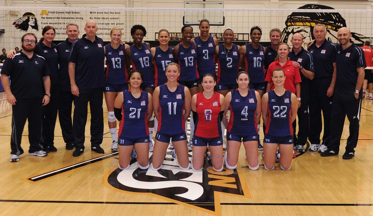 The 2012 USA Women's Volleyball team that traveled to London for the Olympic Games