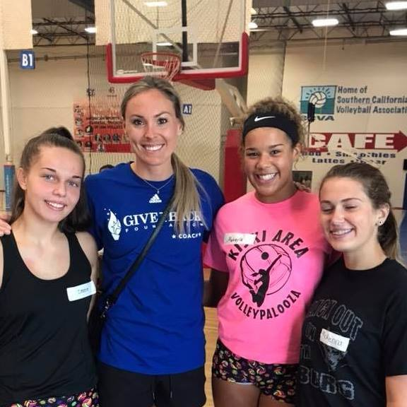 Lauren Gibbemeyer meets Cassie, Makayla, and McKenna at Give it Back's 2018 camp in Anaheim.