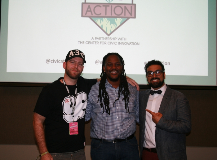 (L to R): Mike Walbert, Executive Director of A3C Festival & Conference; 2016 A3C Action Winner Michael O'Bryan of The Village of Arts and Humanities; and Rohit Malhotra, Founder & Executive Director of the Center for Civic Innovation